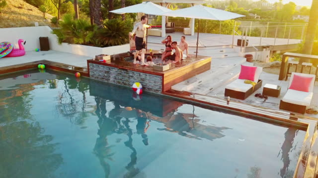 Group of Friends Hanging Out in Hot Tub video