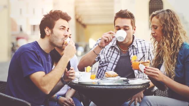 Group of Friends Having an Italian Breakfast video