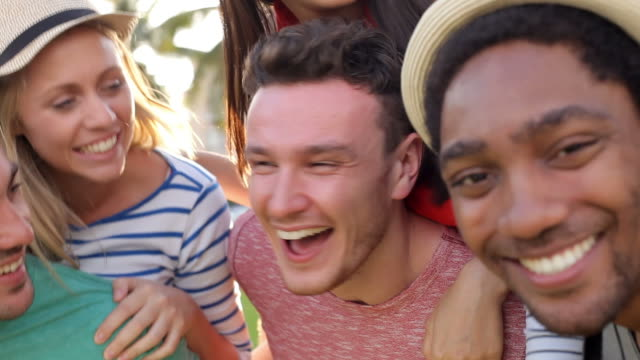 Group Of Friends Having Fun In Park Together video