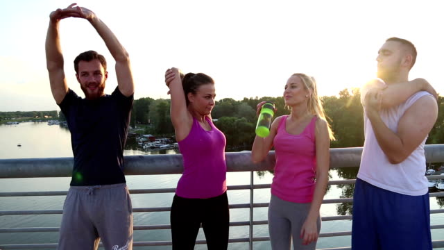Group of friends jogging together video