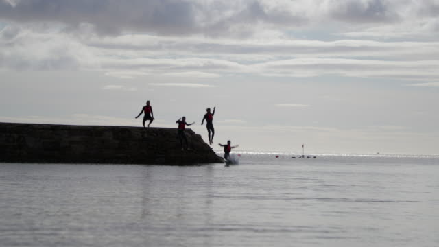 group of friends jumping into the sea - adrenalina video stock e b–roll