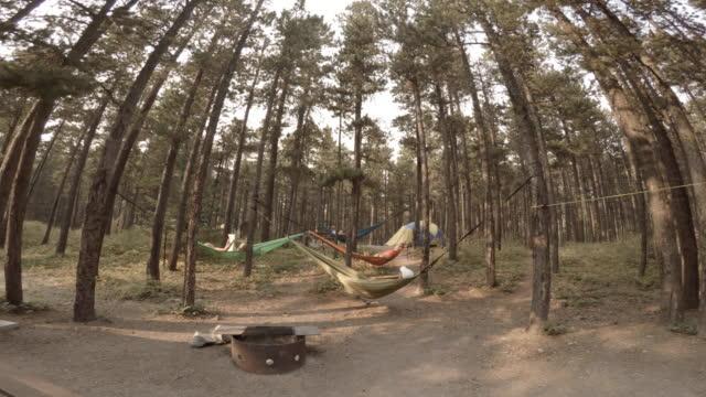 group of friends laying in hammocks under trees - 40 49 lat filmów i materiałów b-roll