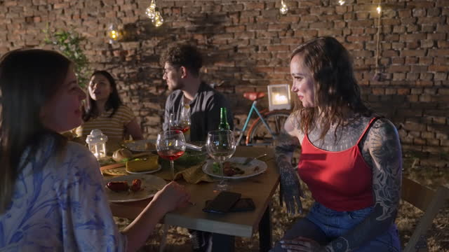 Group of friends on dinner party video
