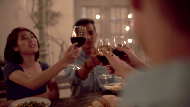 Group of friends saying cheers with wine at dinner party video