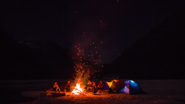 Group of friends sitting by the campfire video