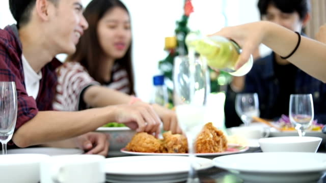 Group of Friends Talking Over a Meal and Lunch break at home video