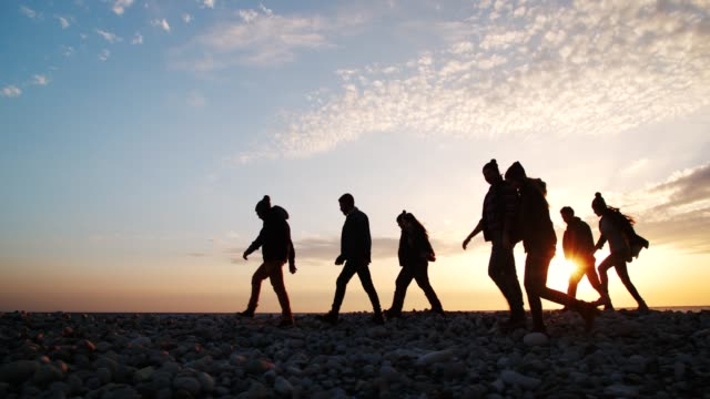 Group of friends walking on a beach at sunset video