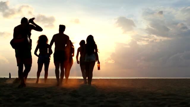 Gruppo di amici a piedi sulla spiaggia al tramonto - video
