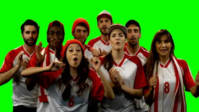 축구 경기를 시청 하는 친구의 그룹 - 20 29세 스톡 비디오 및 b-롤 화면