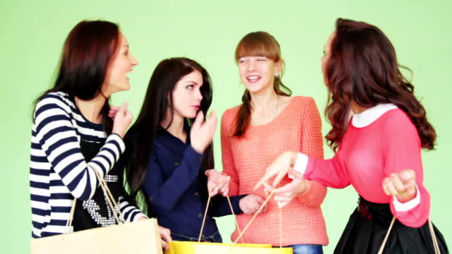 Group of girls after shopping video
