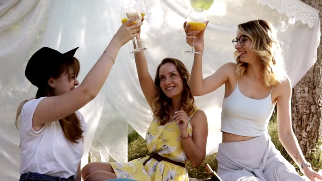 屋外ピクニックを作る女の子の友人のグループです。彼らは楽しく、カクテルのグラスをチャリンします。ヘンパーティー - オルタナティブカルチャー点の映像素材/bロール