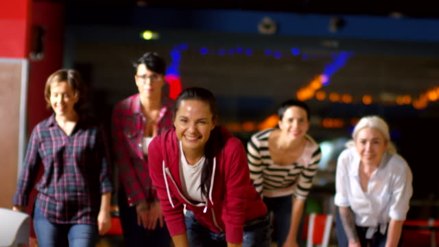 Group of Happy Women Playing Bowling - vídeo