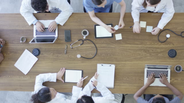 Group of healthcare professionals conducting research