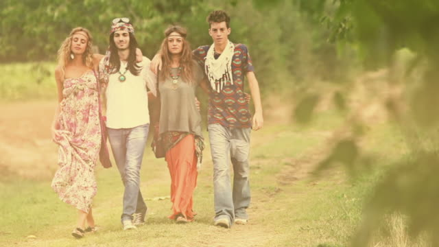 Group of hippie friends walk by video