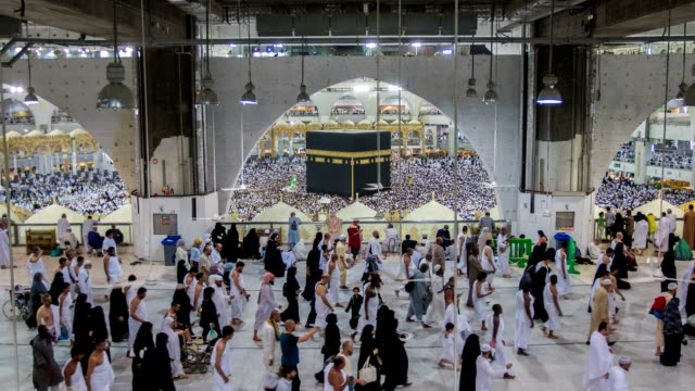 Group of Islamic during Prayer in mecca video