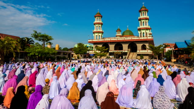 group of islamic women during prayer at mosque - ramadan stock videos and b-roll footage