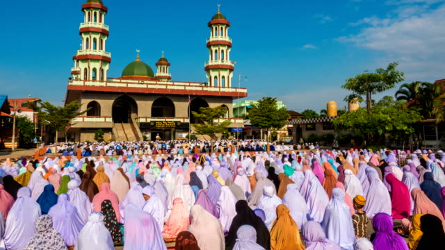 Group of Islamic Women during Prayer at mosque video