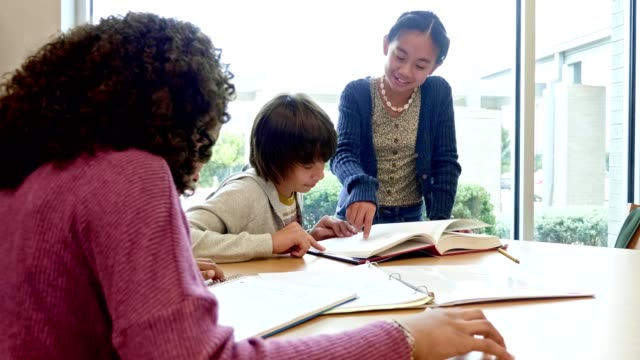 Group of junior high students enjoy studying together
