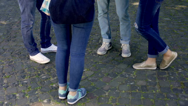 Group of male and female teenagers wearing jeans and sport shoes communicating video
