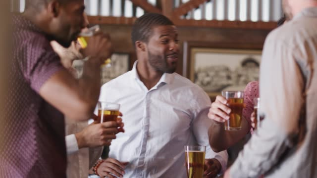 Group Of Male Friends On Night Out For Bachelor Party Together video
