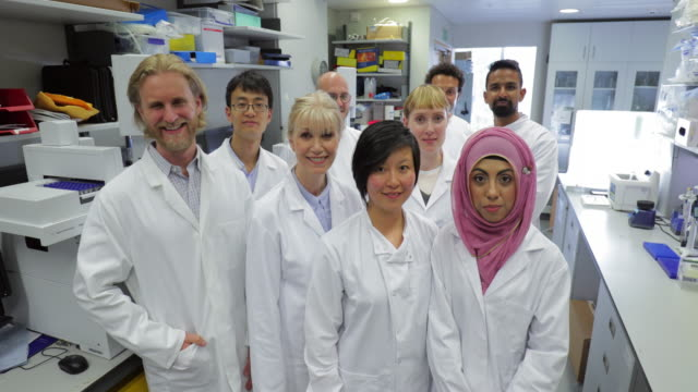 Group of Medical Research Scientists A portrait of a team of multi-ethnic research biochemists, looking directly at​ the camera, they are confident as a group. research stock videos & royalty-free footage