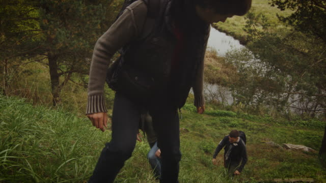 Group of men and women are climbing up a hill in a forest in autumn with a lake in the background. video