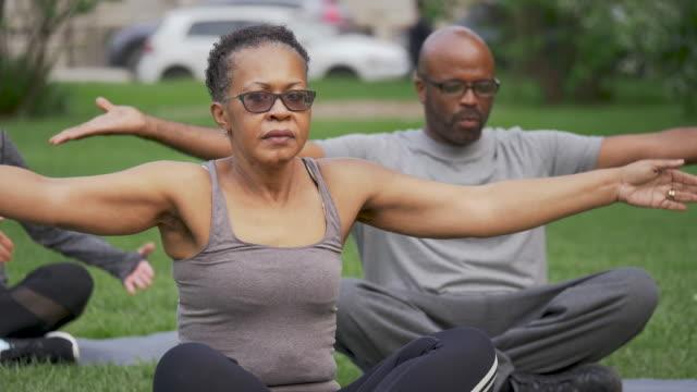 Group Of Mixed Ethnic Seniors Exercising video