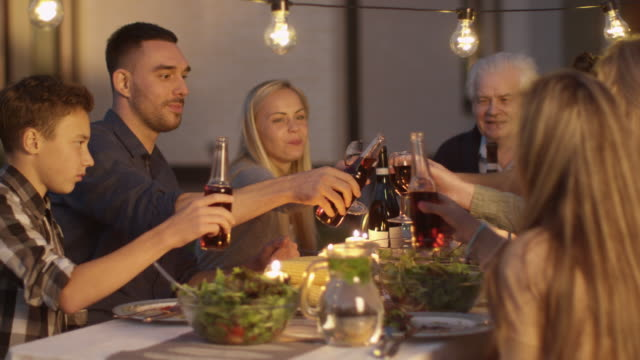 group of mixed race people having fun, celebrating and raising glasses at family dinner. - family trees stock videos and b-roll footage