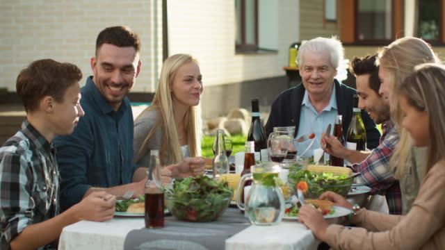 group of mixed race people having fun, communicating and eating at outdoor family dinner - family trees stock videos and b-roll footage