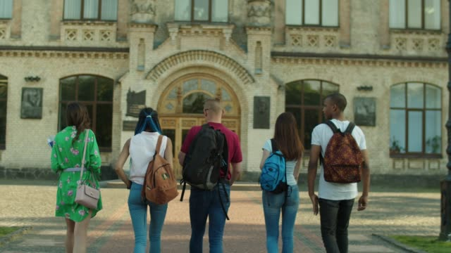 Group of multinational students going to college Back view of joyful multi ethnic friends walking towards college building in the morning for first lesson. Diverse multinational students going along campus alley to university together. wisdom stock videos & royalty-free footage