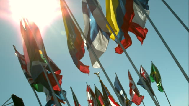 Group of National Flags Waving in Slow Motion video