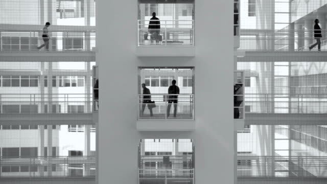 stockvideo's en b-roll-footage met group of office workers walking on elevated walkway - den haag