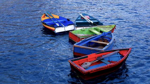 vídeos de stock e filmes b-roll de group of old wooden boats - ilha da madeira