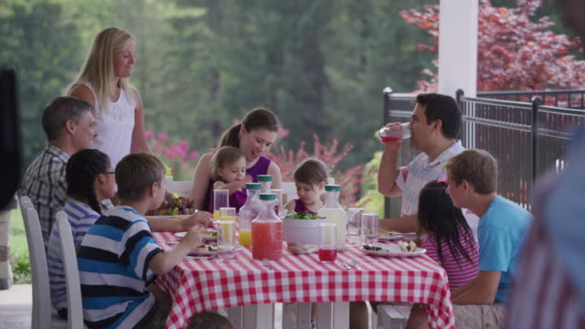vídeos de stock, filmes e b-roll de grupo de pessoas comendo e curtindo um churrasco de quintal - almoço