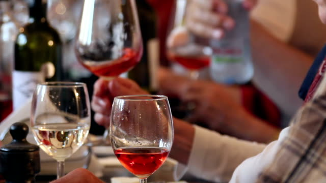 Group of people enjoying a wine tasting in a restaurant video