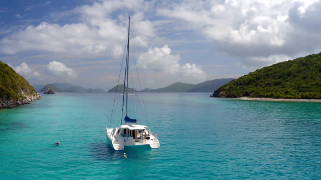 group of people relaxing on a catamaran video
