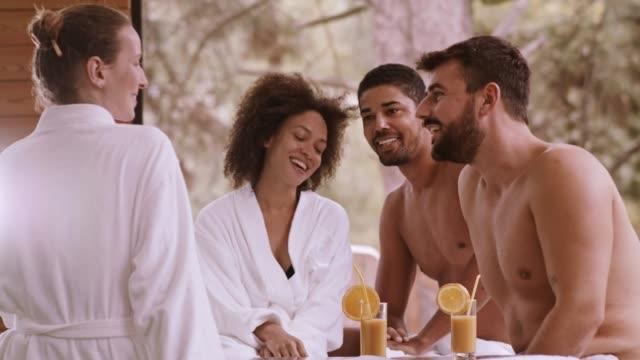 group of people talking at spa - ritemprarsi video stock e b–roll