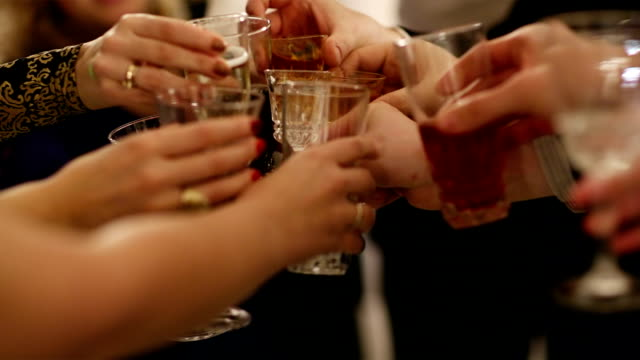 Group of people toasting at a celebration video