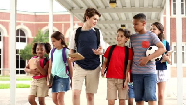 vídeos y material grabado en eventos de stock de grupo de escolares, amigos caminando juntos en el campus. - escuela media