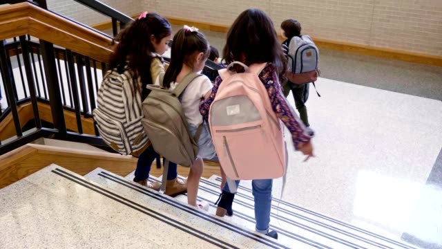 Group of school children leave school at the end of the day Excited group of mixed age school children descend stairs inside the school building at the end of the school day. A small group of students run down the stairs and one boy waits for his friend. Three elementary school girls are the last to walk down the stairs. schools stock videos & royalty-free footage