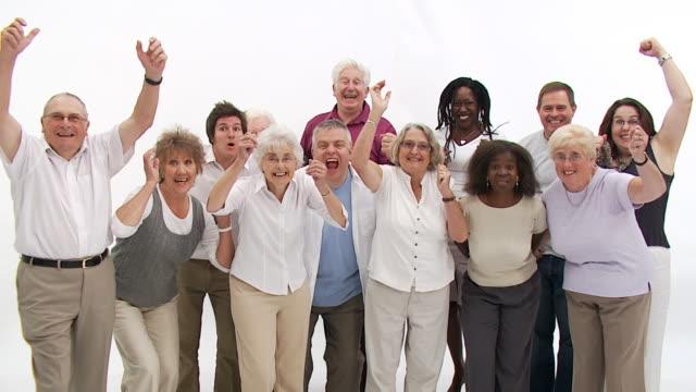 group of senior people - mature women studio grey hair bildbanksvideor och videomaterial från bakom kulisserna