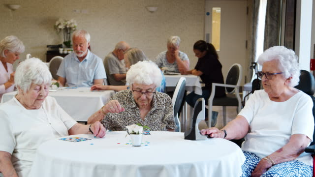 group of seniors playing game of bingo in retirement home - bingo video stock e b–roll