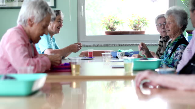 group of seniors socializing and doing hobbies - senior care stock videos and b-roll footage