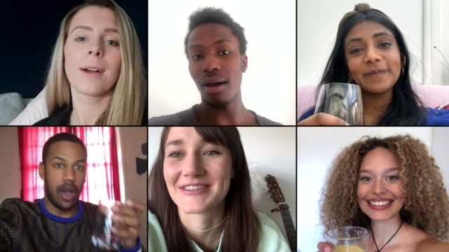 Group of six friends saying cheers over video chat