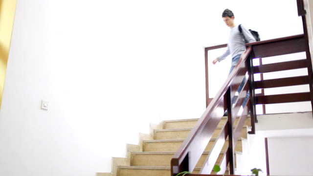 Group of students walking down the stairs. video