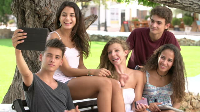 Group Of Teenagers Sitting On Bench Taking Selfie In Park video