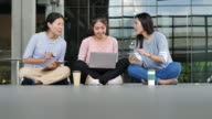 istock Group of three asian women using laptop work together in the building. Casual woman, New generation lifestyle 1171621574