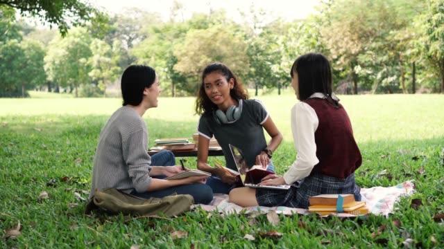gruppe von drei vielfalt universität studienfreunden, lächeln und lachen im park - teenage friends sharing food stock-videos und b-roll-filmmaterial