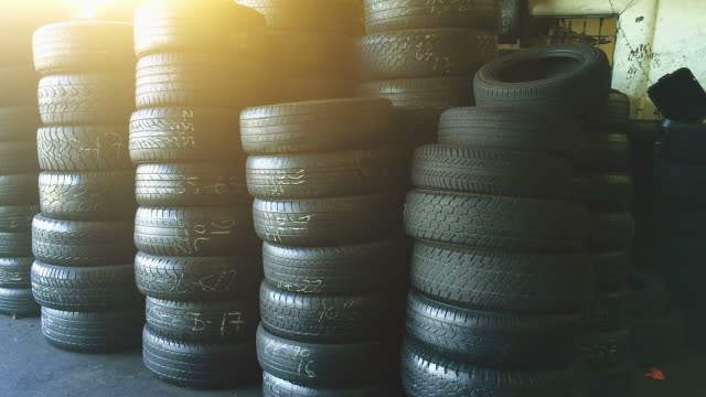 Group of tires at a shop video