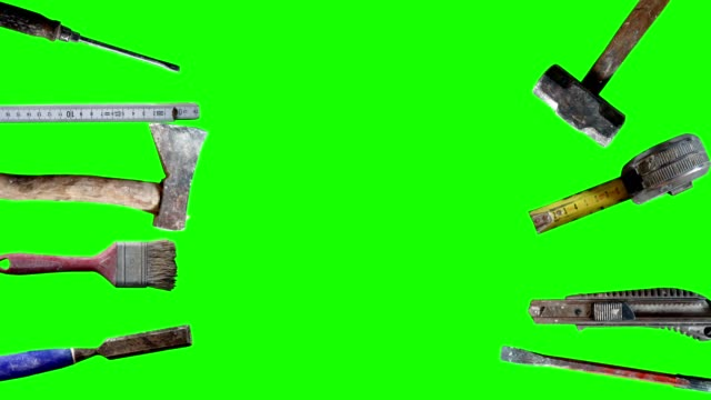 Group of tools animation on green screen, for craft videos video